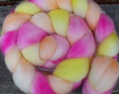 Falkland Roving (Top) Hand Painted Spinning or Felting Fibre in delicate shades of yellow, pink and orange