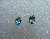 London Blue Topaz Earrings natural gemstones 6x4mm oval 10kt yellow Gold posts