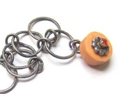 Free shipping etsy - Sterling silver bracelet with orange lampwork bead - Pomme  d'orange