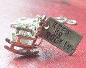 Rocking chair charm  with hand stamped tag on necklace - Keep on rocking