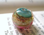 lampwork glass bead for your designs turquoise pink caramel fine silver sprinkles