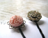 hairpins pink bouquet rhinestones jewelry for your hair silvertone filigree backs black hairpins womens jewelry