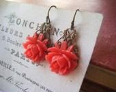 coral flower earrings brass filigree
