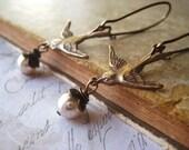 brass bird earrings vintage pearl wire wrapped dangles