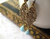 filigree vintage jewel earrings aqua glass vintage inspired brass connector