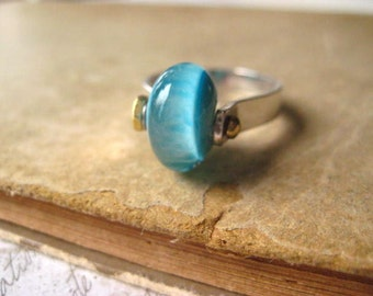 lampwork ring, sterling silver, mixed metal, lamp work bead, handmade bead, turquoise bead, hand formed ring, candies64, womens jewlery