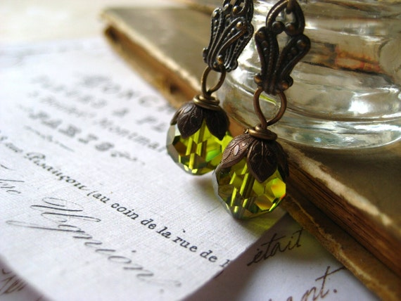 green crystal earrings faceted crystal fancy filigree brass bail Fall fashion Autumn color womens jewlery