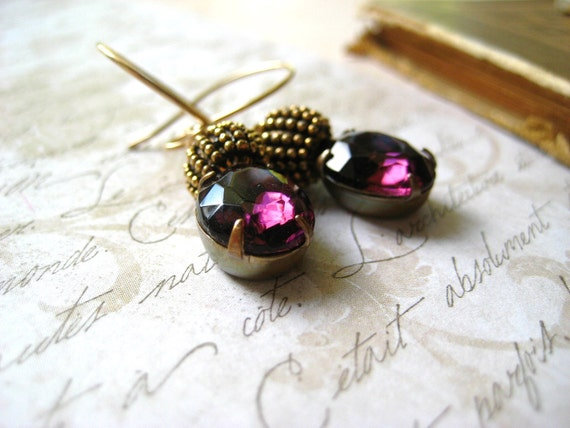 amethyst earrings vintage jewels wire wrapped with 14k gold filled wire and ornate gold beads womens jewelry