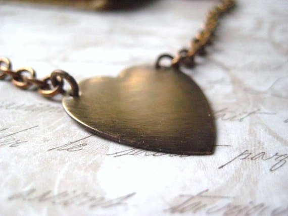 heart necklace brushed brass Be My Valentine oxidized charm Fall fashion romantic womens jewlery