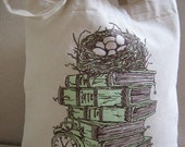 Green Stacked Books, Bird Nest, Clock, Bag, Tote, Bookbag, Back to School, Cotton, Library, Gift Bag - Etsy