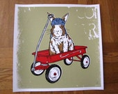Bunny Rabbit Red Wagon Critter Silk Screened Poster Baby Nursery Gift Baby Shower Christmas Gift Present - Etsy