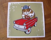 Hamster Guinea Pig Hot Rod Red Car Safety First Helmet Critter Silk Screened Poster Nursery Gift Baby Shower Christmas Present - Etsy