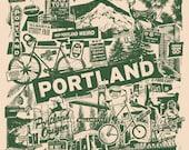 Portland Oregon Silk Screen Collage PDX City Print - Etsy