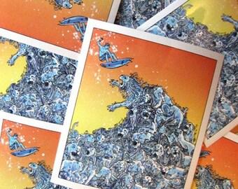 Lion Wave Extreme Surfing Sunset Vinyl Sticker - Etsy
