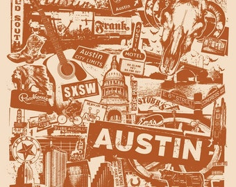 Austin Texas Collage Silk Screen Poster - Etsy