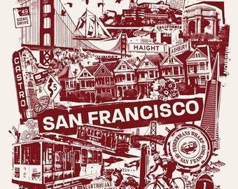 San Francisco Bay Area California West Coast Collage Silk Screen Travel Poster - Etsy