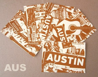 5 Pack Austin Texas Silk Screened Post Cards SXSW City Limits Music BBQ - Etsy