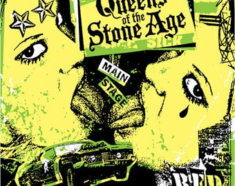 QOTSA Queens Of The Stone Age Sexy Girl on Girl Josh Homme Hotrod Tattoo Silk Screened Concert Poster - Etsy
