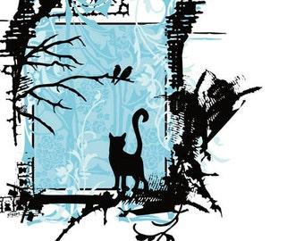 Blue Cat Bird Tree Ornate Silk Screened Print - Etsy