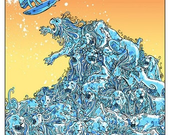 Lion Wave Orange Silk Screen Print - Etsy