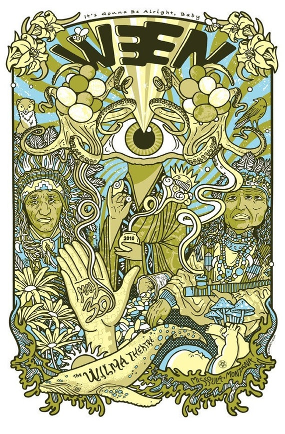 Ween Silk Screened Poster Eyeball Psychedelic Mushrooms Native American Indian Hand Pipe Trip Wilma Theatre Missoula Montana