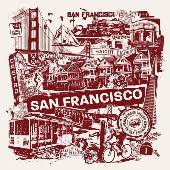 Super Bowl San Francisco Bay Area California West Coast Collage Silk Screen Poster - Etsy
