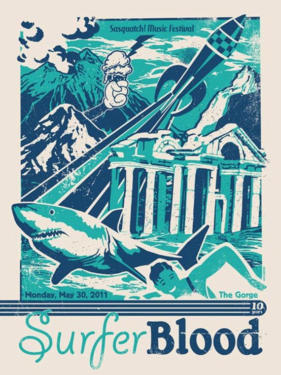 Surfer Blood Silk Screen Shark Week Rocket Poster - Etsy