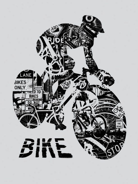 Bike Anatomy Grey Bicycle Ride Helmet Race Critical Mass by gigart