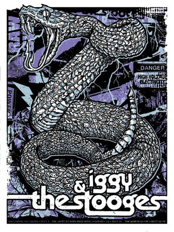Iggy Pop & The Stooges Silk Screen Snake Raw Power Poster - Etsy