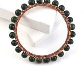 Green Bloodstone Wire Wrapped Bangle Bracelet