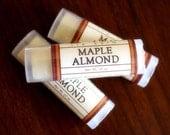 Maple Almond Lip Balm - One Tube Beeswax Shea Cocoa Butter Jojoba