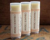 Orange Cream Lip Balm - One Tube Beeswax Shea Cocoa Butter Jojoba