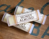 Honey Almond Oval Lip Balm - One Tube Beeswax Shea Cocoa Butter Jojoba