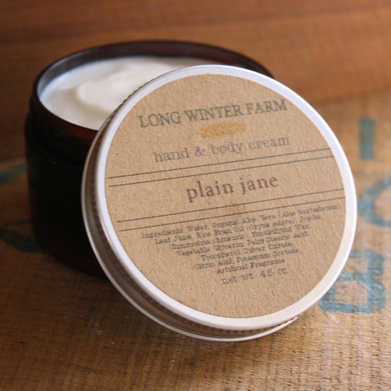 Unscented Skin Cream with Organic Aloe Juice hand body Lotion Plain Jane
