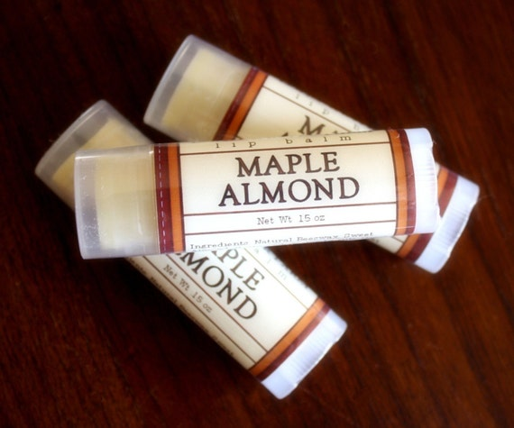 Maple Almond Lip Balm - One Tube Beeswax Shea Cocoa Butter Jojoba