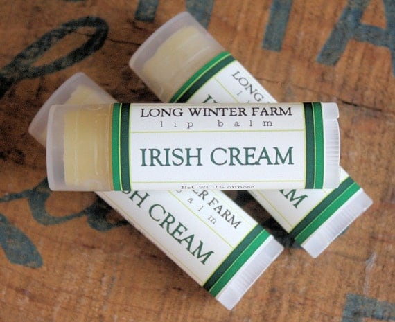 Irish Cream Lip Balm - One Tube Beeswax Shea Cocoa Butter Jojoba