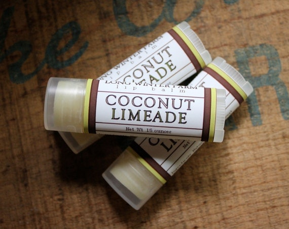 Coconut Limeade Lip Balm - One Tube Beeswax Shea Cocoa Butter Jojoba LIMITED EDITION