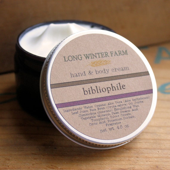 Bibliophile Skin Cream with Organic Aloe Juice hand body Lotion