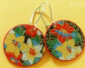 Red and Yellow Flowered Japanese Yuzen Paper Earrings