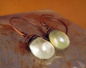 Breeze Earrings - Prehnite and Copper