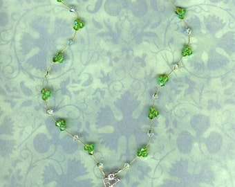 Green Crystal Necklace . Peridot . Swarovski Crystal . Heart . August Birthstone . Wedding Jewelry . Bridal . FREE SHIPPING