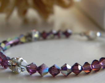 Bracelet ~ Birthstone ~ February ~ Amethyst ~ Purple ~ Swarovski Crystal ~ Baby ~ Toddler ~ Child ~ Flower Girl ~ Wedding ~ Sparkle