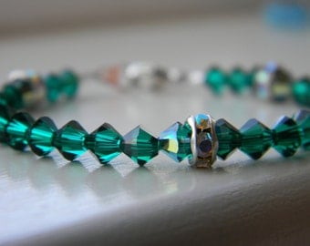 Bracelet ~ Birthstone ~ May ~ Emerald ~ Green ~ Swarovski Crystal ~ Baby ~ Toddler ~ Child ~ Flower Girl ~ Sparkle