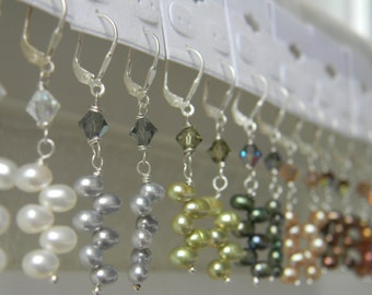 Pearl Earrings ~ Freshwater Pearl ~ Dancing Pearl ~ Swarovski Crystal ~ you CHOOSE color ~ Wedding ~ Bridesmaid ~ Sterling ~ FREE SHIPPING