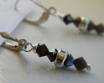 Earrings . Garnet Red .  January Birthstone . Swarovski Crystal . Sparkle . FREE SHIPPING