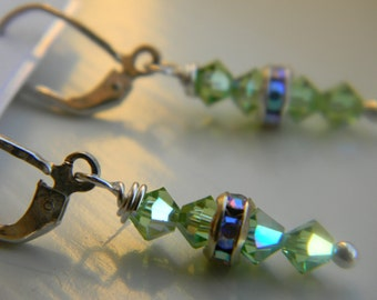 Earrings . Peridot Green .  August Birthstone . Swarovski Crystal . Sparkle . FREE SHIPPING