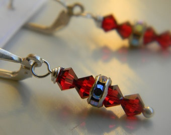 Earrings . Ruby Red .  July Birthstone . Swarovski Crystal . Sparkle . FREE SHIPPING