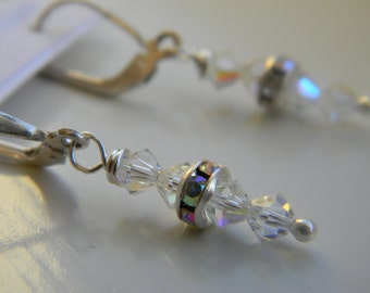 Earrings . Crystal AB (diamond) .  April Birthstone . Swarovski Crystal . Sparkle . FREE SHIPPING