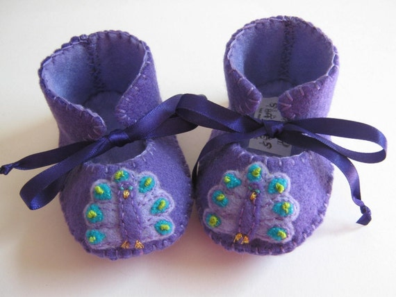 Baby Girl Booties Baby Girl Shoes Purple Baby Boots Peacock Baby Shower Gift Newborn Girl Infant Girl Shoes
