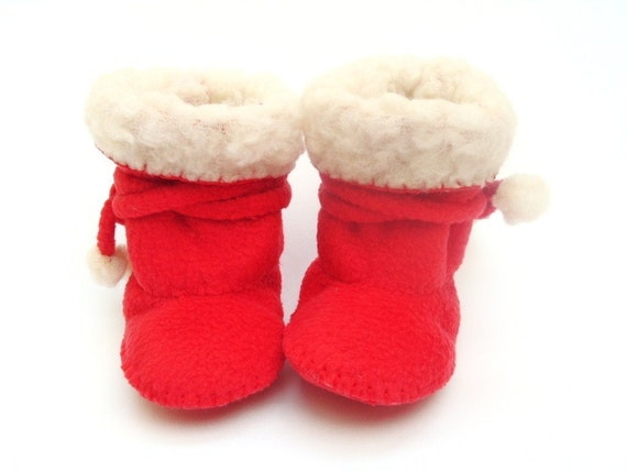 Red Fleece Baby Boots Ugg Baby Boots Red Love Baby Booties. Baby Shower Gift. Christmas Baby Clothes. Fleece Baby Booties. Red Baby Shoes